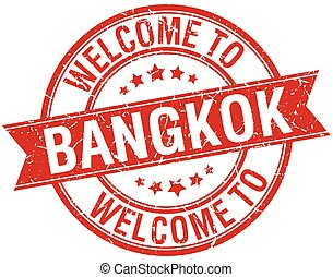 welcome to Bangkok red round ribbon stamp