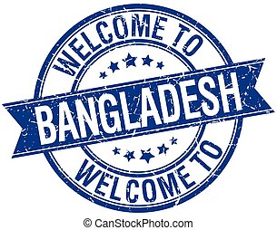 welcome to Bangladesh blue round ribbon stamp