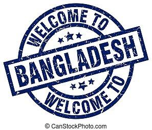 welcome to Bangladesh blue stamp