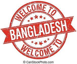 welcome to Bangladesh red round ribbon stamp