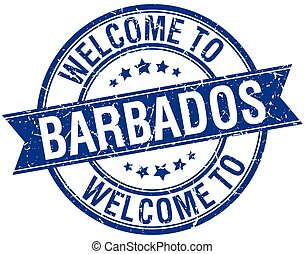 welcome to Barbados blue round ribbon stamp