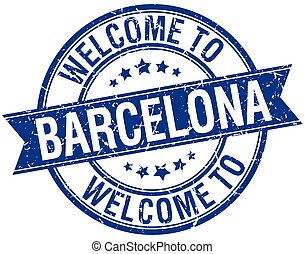 welcome to Barcelona blue round ribbon stamp