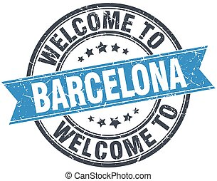 welcome to Barcelona blue round vintage stamp