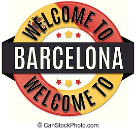 welcome to BARCELONA spain flag icon
