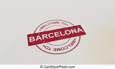 WELCOME TO BARCELONA wooden stamp animation. Alpha matte for...