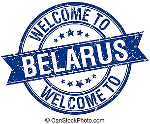 welcome to Belarus blue round ribbon stamp