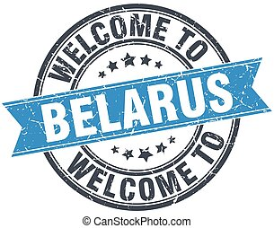 welcome to Belarus blue round vintage stamp