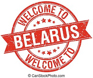 welcome to Belarus red round ribbon stamp