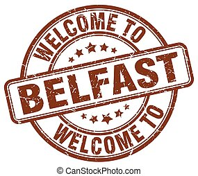 welcome to Belfast brown round vintage stamp