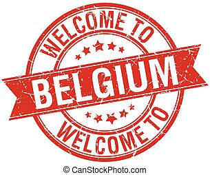 welcome to Belgium red round ribbon stamp