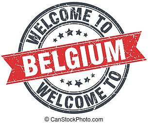 welcome to Belgium red round vintage stamp