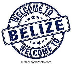 welcome to Belize blue round vintage stamp