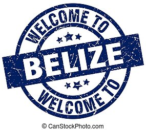 welcome to Belize blue stamp