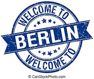 welcome to Berlin blue round ribbon stamp