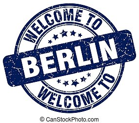 welcome to Berlin blue round vintage stamp