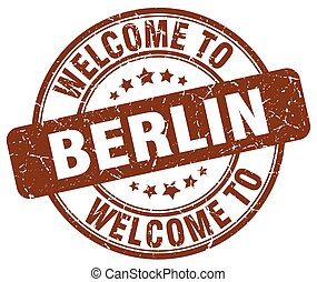welcome to Berlin brown round vintage stamp