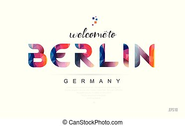 Welcome to berlin germany card and letter design typography icon
