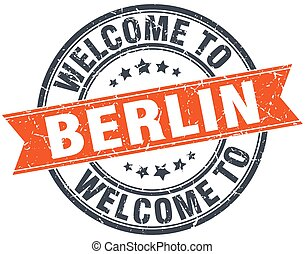 welcome to Berlin orange round ribbon stamp