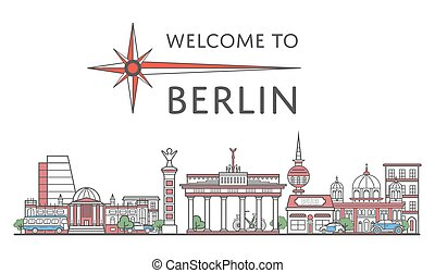 Welcome to Berlin poster in linear style - Welcome to Berlin...