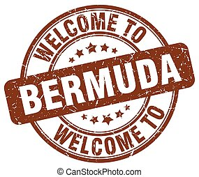 welcome to Bermuda brown round vintage stamp