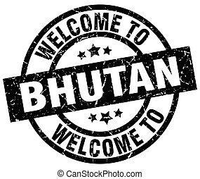 welcome to Bhutan black stamp