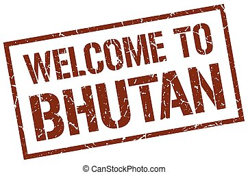 welcome to Bhutan stamp