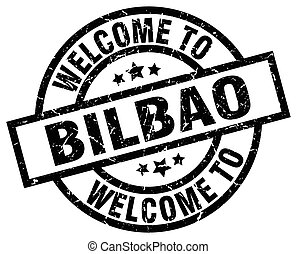 welcome to Bilbao black stamp