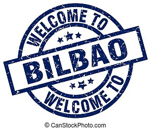 welcome to Bilbao blue stamp