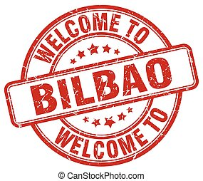 welcome to Bilbao red round vintage stamp