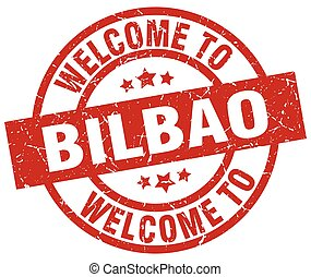 welcome to Bilbao red stamp