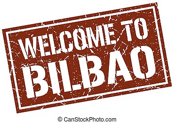 welcome to Bilbao stamp