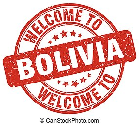 welcome to Bolivia red round vintage stamp