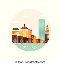 Welcome to Boston poster. View on city skyscrapers