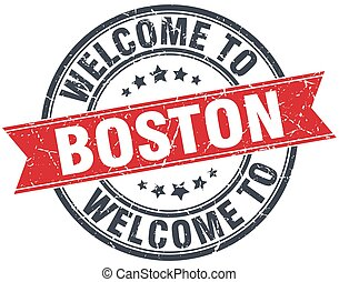 welcome to Boston red round vintage stamp