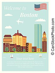 Welcome to Boston vintage poster landmarks
