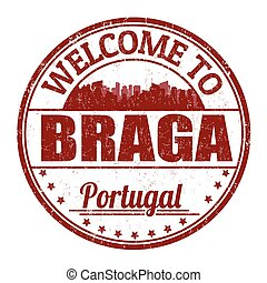 Welcome to Braga grunge rubber stamp