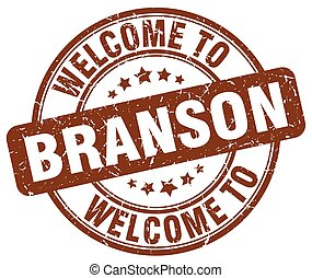 welcome to Branson brown round vintage stamp