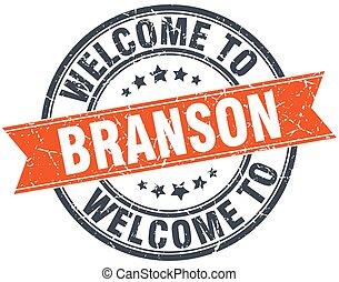 welcome to Branson orange round ribbon stamp