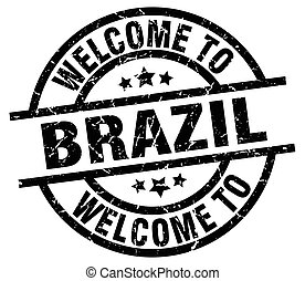 welcome to Brazil black stamp
