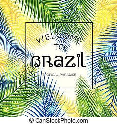 Vector illustration of color palm. - Welcome to Brazil!...
