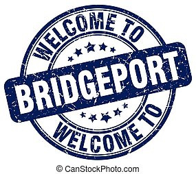 welcome to Bridgeport blue round vintage stamp