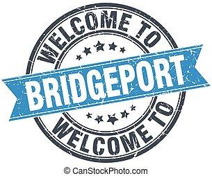 welcome to Bridgeport blue round vintage stamp
