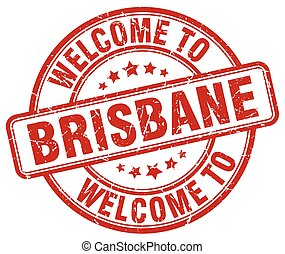 welcome to Brisbane red round vintage stamp