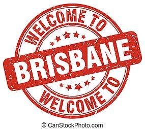 welcome to Brisbane red round vintage stamp