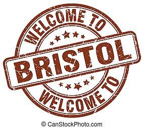 welcome to Bristol brown round vintage stamp