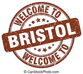 welcome to Bristol brown round vintage stamp