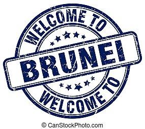 welcome to Brunei blue round vintage stamp