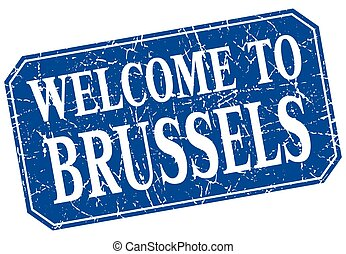 welcome to Brussels blue square grunge stamp