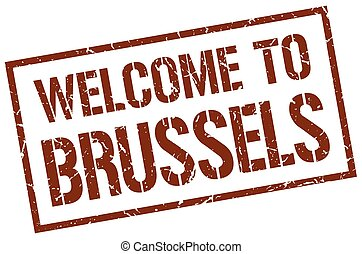 welcome to Brussels stamp