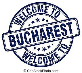 welcome to Bucharest blue round vintage stamp